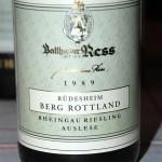 1989 Berg Rottland von Balthasar Ress, sehr schön gereifte Riesling Auslese